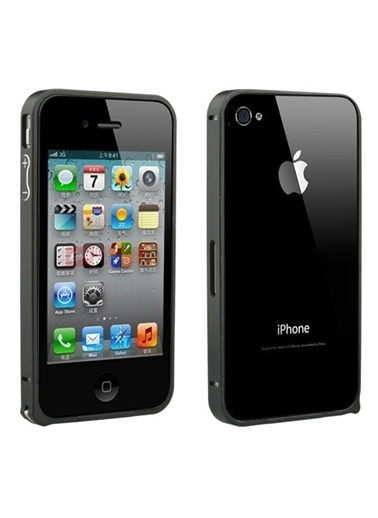 Microsonic iPhone  4 & 4S Ultra Thin Metal Bumper Kılıf Siyah Renkli